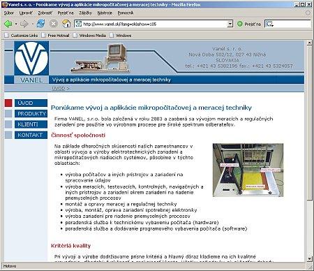VANEL s.r.o - homepage