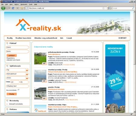x-reality - ponuky realitných kancelárií na Slovensku